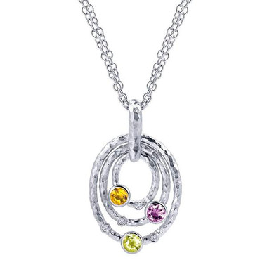 Gabriel&Co. Boutique Silver Category:Necklace Collection:Bohemian, Style:Fashion  Color Stone Quality:Mc - Multi Color Stones, Diamond Total:0.04ct, Metal Type:925 Silver    Width:21.11 mm Thickness:3.72 mm Size:18.00 Drop:34.78 mm