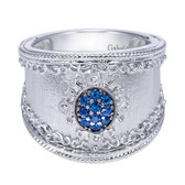 Gabriel&Co. Boutique Silver Category:Ladies' Ring Collection:Roman Style:Fashion  Color Stone Quality:Sa - A Quality Sapphire, Diamond Total:0.04ct Metal Type:925 Silver