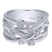 Gabriel & Co. Ladies' Ring Collection:Scalloped  SilverStyle:Fashion  Diamond Total:0.08ct Metal Type:925 Silver