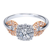 Gabriel&Co. Adore Category:Engagement Ring Collection:Contemporary Style:Halo Diamond Total:0.97 ct Metal Type:14k White/pink Gold Diamond: Center Stone Included