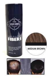 Piz-zaz  All Natural Organic Keratin Protein Hair Fibers | Instant Hair Thickening System - Medium Brown