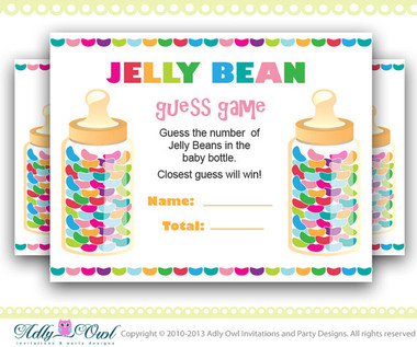 Gender Neutral Colorful Jelly Beans Guess Game How Many