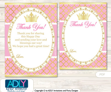 Pink Princess Thank You Cards For A Baby Pink Shower Or