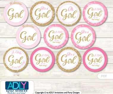 Baby Shower Girl Bokeh Cupcake Toppers Printable File For