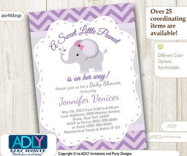Purple Grey Elephant Invitation For Baby Shower Little