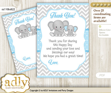 Boy Elephant Thank You Cards For A Baby Boy Shower Or