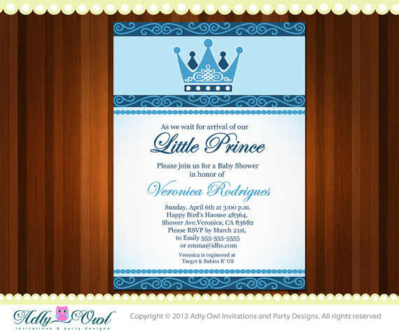 Personalized Little Prince Crown Royal Baby Shower