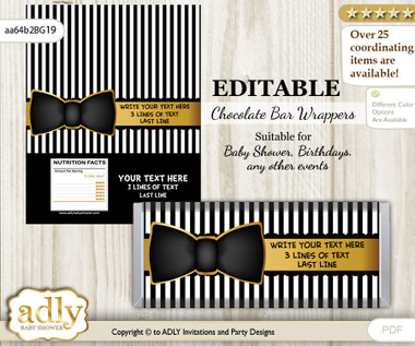 Personalizable Boy Bow Tie Chocolate Bar Candy Wrapper