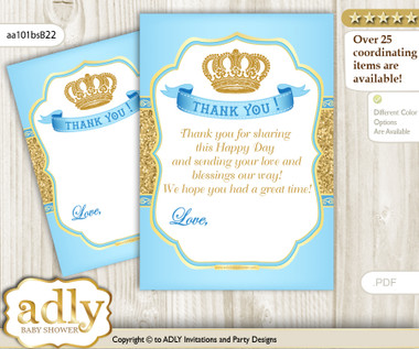 Royal Prince Thank You Cards For A Baby Royal Shower Or