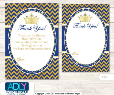Crown Prince Thank You Cards For A Baby Crown Shower Or