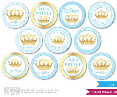 Baby Shower Blue Gold Prince Cupcake Toppers Printable