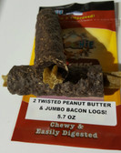 BACON   LOGS  STUFFED  WITH   PEANUT BUTTER  TWIST  (2 PK )Please View Video Home Page Top Center to View Informative Benefits of hvPet.com Poochie Dog Treats