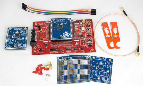 The CW308 UFO Board includes the main board, the XMEGA and AVR targets, 3 prototype boards, a lifter, 7.37 MHz crystal, and jumper wires.