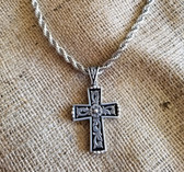 M & F Silver with Black Filigree Cross and Rope Chain