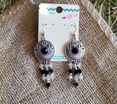 M & F Medallion Filigree Silver Beaded Earrings