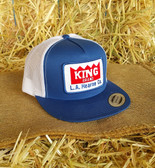 Ball Cap, King Brand Ball Cap Summer Royal Blue White Embroider Patch Logo (adjustable back) Adult Size