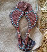 Spur Straps, Bar H Equine Adjustable Spur Straps With Turquoise Accents