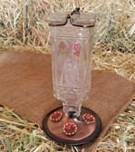 Antique Clear Glass Bottle Hummingbird Feeder 24 oz. capacity (KC)