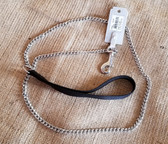 Dog Lead/Leash Fine Chain 2.0 mm with snap (Black Nylon Handle) 4 ft (Available in-store only KC)