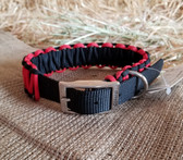 Dog Collar H Duty Red & Black Lace Design 18""