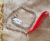 Dog Lead/Leash X Heavy Chain 4.0 mm  4 ft. length Red Handle  (Available for purchase in-store-only KC)