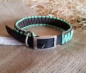 Dog Collar H Duty Black/Brown/Green Lace Design 24 in.