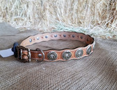Dog Collar 24 in. Leather with Conchos (Available for purchase in-store-only KC)