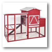 Poultry Hutches. Shown: Precision Pet Red Barn Ranch Chicken Coop (in-store-only-seasonal)