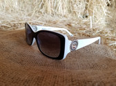 Brighton Womens Sunglasses, Handmade White Sparkle Concho Bling Style