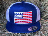 Ball Cap, KING BRAND in Red White and Blue, Snapback  Adjustable Men's BLUE Cap