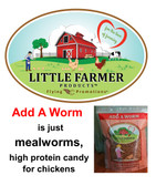 Little Farmer Add A Worm, Mealworm Candy for Chickens, 1 lb.