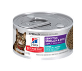Cat Food, Veterinarian Recommended Hills Science Diet Sensitive Stomach &  Skin Adult Wet Cat Food, Tuna & Vegetable Entree (CASE) 24 x 2.9 oz