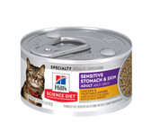 Cat Food, Veterinarian Recommended Hills Science Diet Sensitive Stomach &  Skin Adult Wet Cat Food, Chicken & Vegetable Entree (CASE) 24 x 2.9 oz