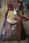 American West Ladies Handbag  with tooled horse & hardware (available in store only)