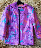 Girl's Outerwear, Farm Fresh Knee Deep Farm Girl Purple Lovin' It Horses Rain Coat, Kids Sizes (Available In Store Only)