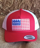 Ball Cap, KING Adult Ball Cap With Flag Logo Red Solid/White Mesh (adjustable back snaps into place)