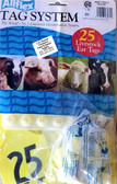 Livestock Ear Tags, AllFlex, 25 Livestock Ear Tags for Identification (Numbered 1 - 25) Maxi Female Yellow (for Cattle)