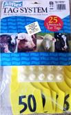 Livestock Ear Tags, AllFlex Tag System 25 Livestock Ear Tags Yellow 26 -50 Maxi Fem. Small Male