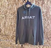 Men's Sweatshirt, Ariat Vertical Flag Hood Brine Olive (in store only)