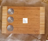 Western Moments Wood Tray with inset stainless steel condiment cups