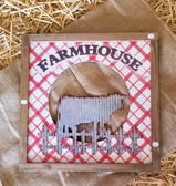 Farmhouse Wood Framed Tin Cow with Red Plaid Wall Hanging