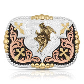 Jewelry, Montana Silversmiths Faith in Four Buckle with Bull Rider