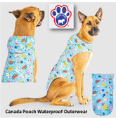 Clothing, Canada Pooch Dog Rain Poncho, Color: Pool Party  (Available in-store only)