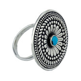 Jewelry, Montana Silversmith's Antique Silver Concho Turquois Ring (Size 9)