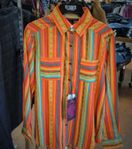 Rock & Roll Cowgirl Orange Junior Striped Blouse, Rayon (Available in store only)