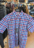 Panhandle Men's Short Sleeved STRETCH Plaid Button (Available in store only)