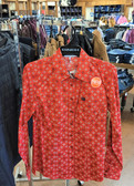 Cinch Ladies Red Patterned Long Sleeve Blouse, Med (Available in store only)
