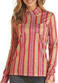 Rock and Roll Cowgirl Junior, Stripe Two Pocket Long Sleeved Zip Up Blouse (Available in Store only)