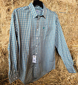 Cinch Men's Long Sleeved Shirt Green Plaid (available in store only)