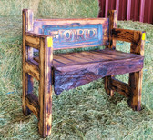 J.S. Barrel Creations Handmade FORD Solid Wood Carved Bench
